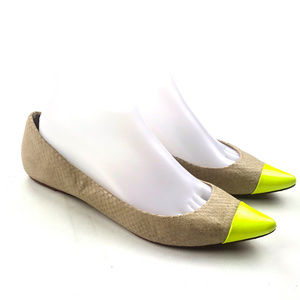 Ann Taylor Beige Yellow Cap Toe Pointed Ballet